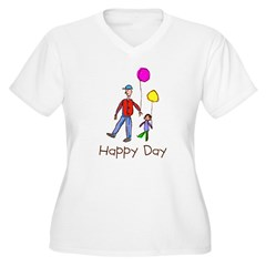 Kid Art Happy Day Women's Plus Size V-Neck T-Shirt