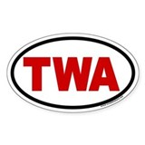 TWA with Red Letters Oval Euro Style Decal