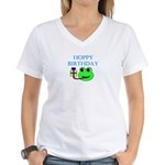 HOPPY BDAY Women's V-Neck T-Shirt