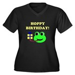 HOPPY BDAY Women's Plus Size V-Neck Dark T-Shirt