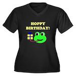 HOPPY BDAY Women's Plus Size V-Neck Dark T-Shirt