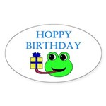 HOPPY BDAY Oval Sticker