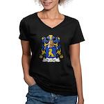 Brachet Family Crest Women's V-Neck Dark T-Shirt