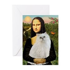 Mona's White Persian Greeting Cards (Pk of 20)