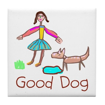 Kid Art Good Dog Tile Coaster
