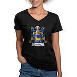 Bouhier Family Crest Women's V-Neck Dark T-Shirt