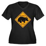 Wombat Xing Women's Plus Size V-Neck Dark T-Shirt