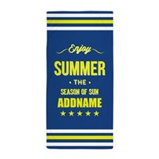 Blue Yellow Enjoy Summer Personalized Beach Towel