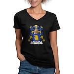 Berthault Family Crest  Women's V-Neck Dark T-Shir