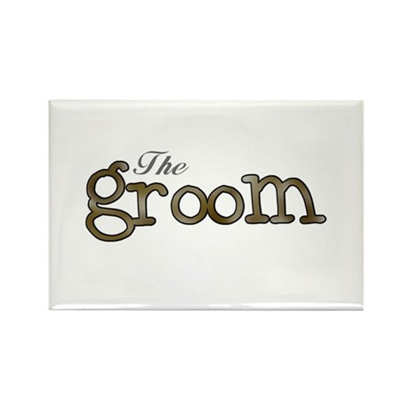 Silver and Gold Groom Rectangle Magnet