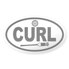 Curling Broom and Target Oval Decal