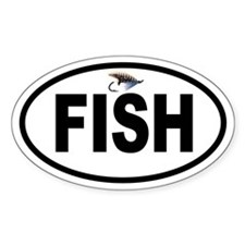 Colorful Fly Fishing Oval Decal