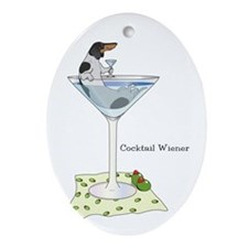 Piebald Cocktail Wiener Oval Ornament