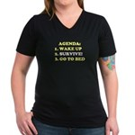 AGENDA TO SURVIVE Women's V-Neck Dark T-Shirt