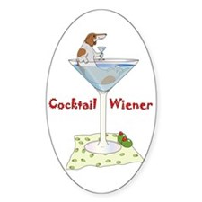 Red Piebald Cocktail Wiener Oval Decal