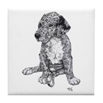 Merle Great Dane puppy in dots Tile Coaster