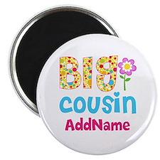 Big Cousin Floral Dots Personalized Magnet