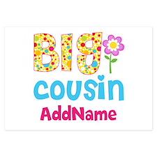 Big Cousin Floral Dots Personal Invitations