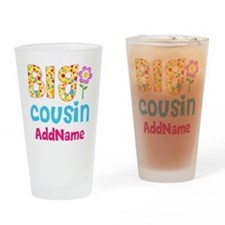 Big Cousin Floral Dots Personalized Drinking Glass