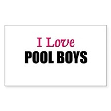 I Love POOL BOYS Rectangle Decal