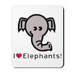 I Love Elephants Mousepad