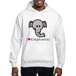 I Love Elephants Hooded Sweatshirt