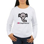 I Love Elephants Women's Long Sleeve T-Shirt
