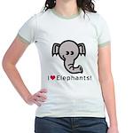 I Love Elephants Jr. Ringer T-Shirt