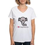 I Love Elephants Women's V-Neck T-Shirt
