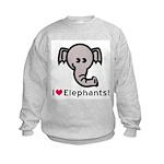 I Love Elephants Kids Sweatshirt