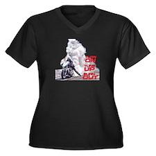 Burnout Women's Plus Size V-Neck Dark T-Shirt
