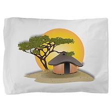 African Hut In Sunset Pillow Sham