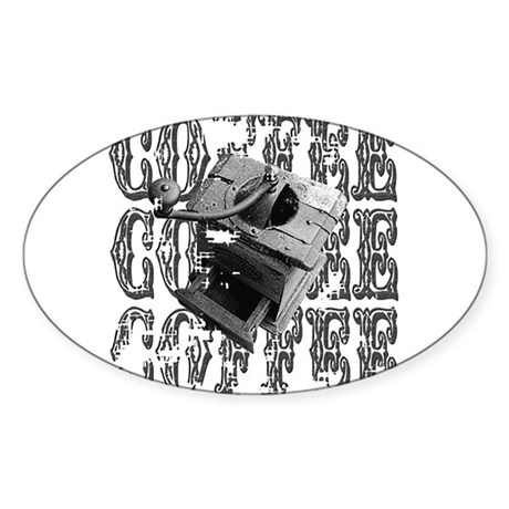 Coffee Grinder Oval Sticker