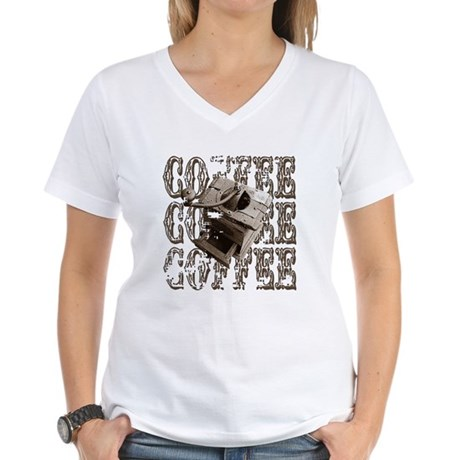 Coffee Grinder - Sepia Women's V-Neck T-Shirt