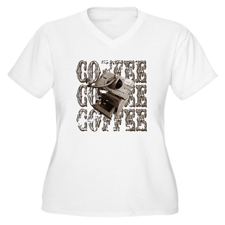 Coffee Grinder - Sepia Women's Plus Size V-Neck T-