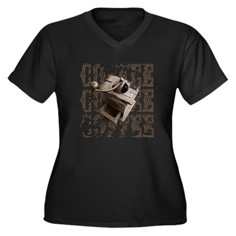 Coffee Grinder - Sepia Women's Plus Size V-Neck Da