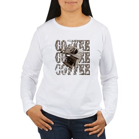 Coffee Grinder - Sepia Women's Long Sleeve T-Shirt