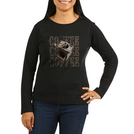 Coffee Grinder - Sepia Women's Long Sleeve Dark T-