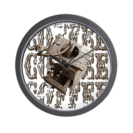 Coffee Grinder - Sepia Wall Clock