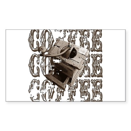 Coffee Grinder - Sepia Rectangle Sticker