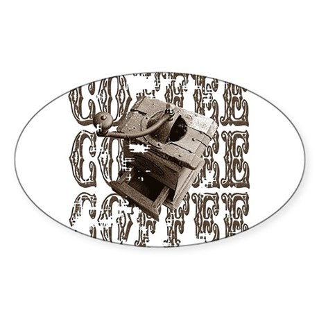 Coffee Grinder - Sepia Oval Sticker