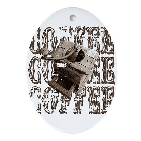 Coffee Grinder - Sepia Oval Ornament