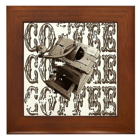 Coffee Grinder - Sepia Framed Tile