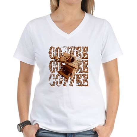 Coffee Grinder - Rich - Women's V-Neck T-Shirt