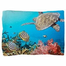 Turtle and Fishes Under Water Pillow Sham