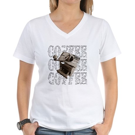 Coffee Grinder - White - Women's V-Neck T-Shirt