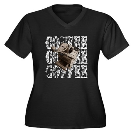 Coffee Grinder - White - Women's Plus Size V-Neck