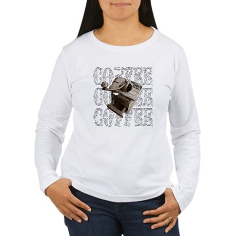 Coffee Grinder - White - Women's Long Sleeve T-Sh