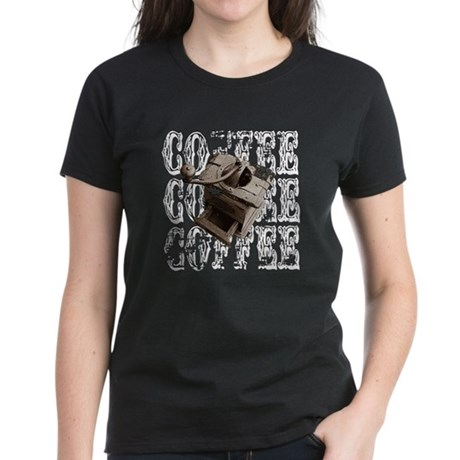 Coffee Grinder - White - Women's Dark T-Shirt