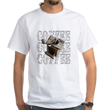 Coffee Grinder - White - White T-Shirt